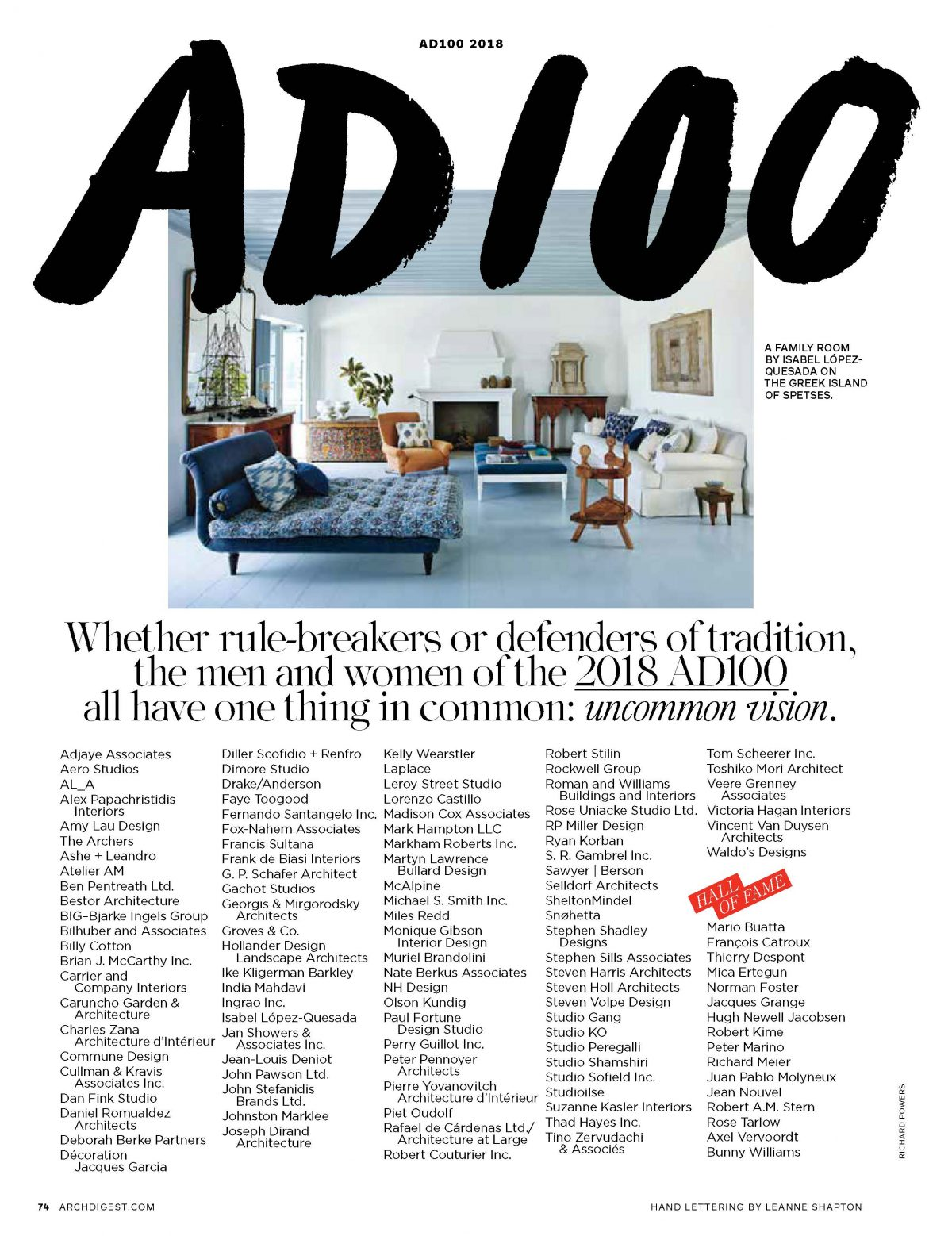 Architectural Digest – Hollander Design on AD100 Top Designers List