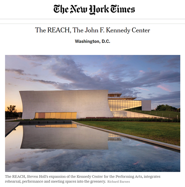 New York Times – Fall Architecture Preview on Kennedy Center REACH